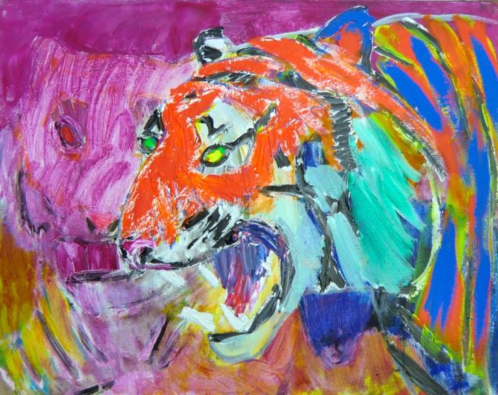 11. Tigerens dobbeltgænger. 73x92 cm. 2013