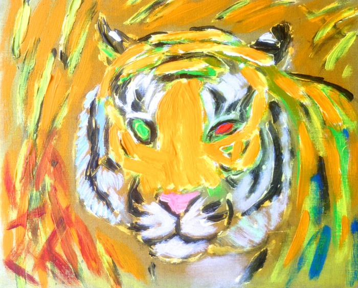 04. Tiger i vildnis. 38 x 46 cm. 2014.